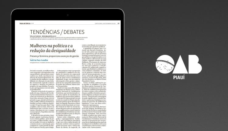 Advogada Valéria Paes Landim tem artigo publicado na Folha de São Paulo