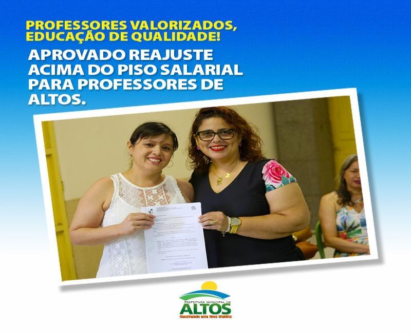 Prefeitura aprova reajuste acima do piso salarial para professores de Altos