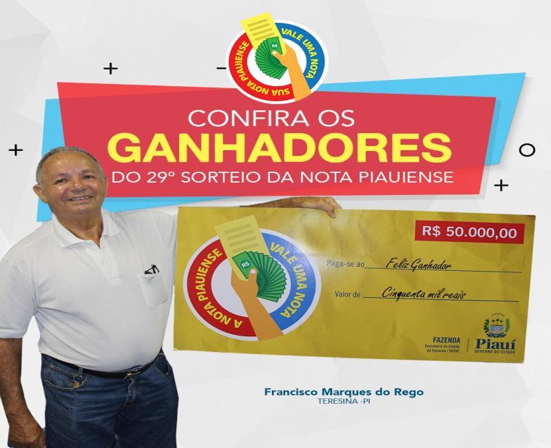 Sefaz divulga lista completa dos ganhadores da Nota Piauiense