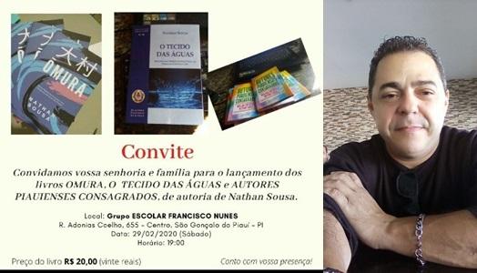 Poeta e escritor Nathan Sousa lança três obras em São Gonçalo do Piauí