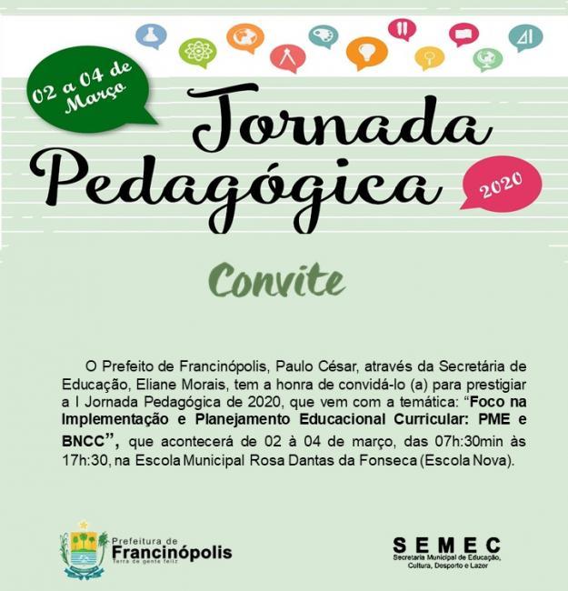 Prefeitura de Francinópolis convida a todos para I Jornada Pedagógica 2020