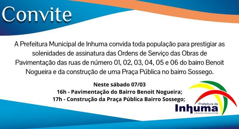 Inhuma |Prefeitura convida a população para prestigiar assinatura de Ordens