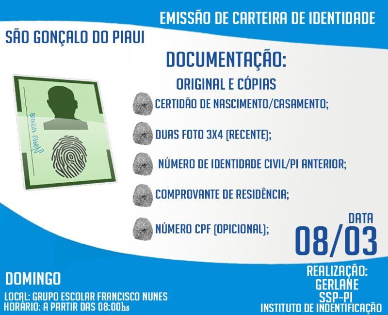 Manhã da Cidadania emitirá carteira de identidade em São Gonçalo do Piauí