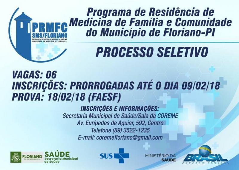 Inscrições do Programa de Residência de Medicina de Família e Comunidade é prorrogado