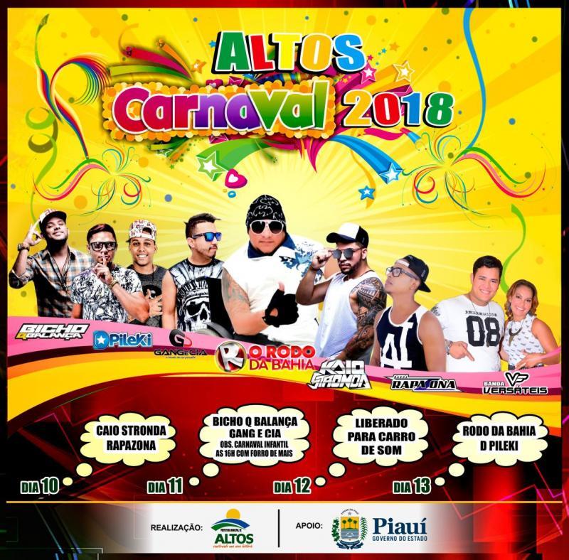 Prefeitura divulga programação do carnaval 2018 de Altos