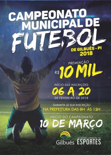 Inscrições abertas para Campeonato Municipal de Futebol 2018