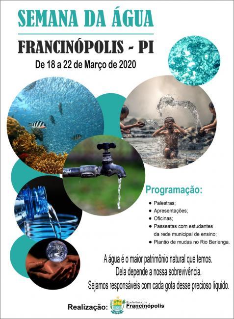 Prefeitura de Francinópolis divulga programação da Semana da Água