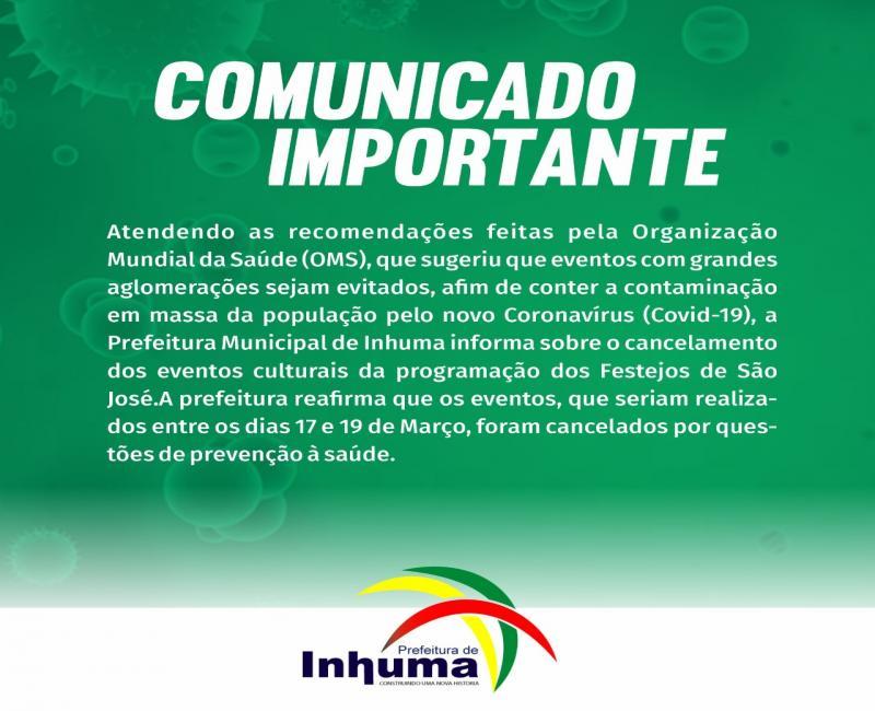 Inhuma | Prefeitura cancela eventos culturais dos Festejos de São José