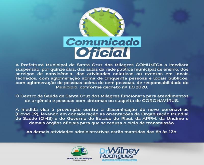 Prefeitura de Santa Cruz dos Milagres suspende as aulas e atividades