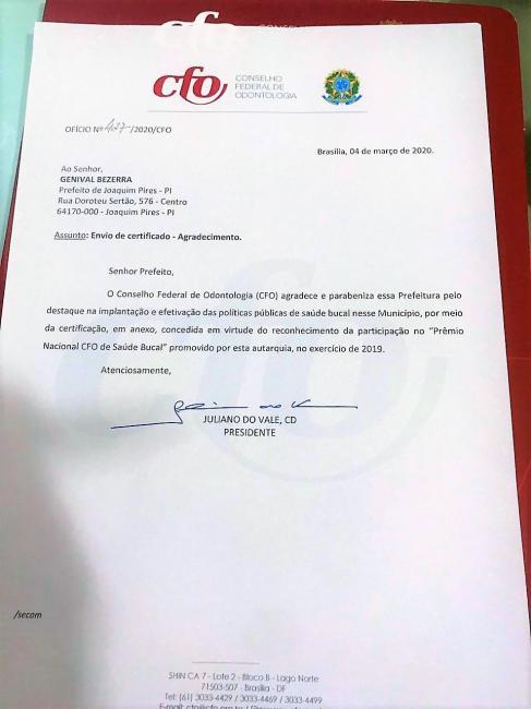 Joaquim Pires é certificado com Prêmio Nacional CFO de Saúde Bucal