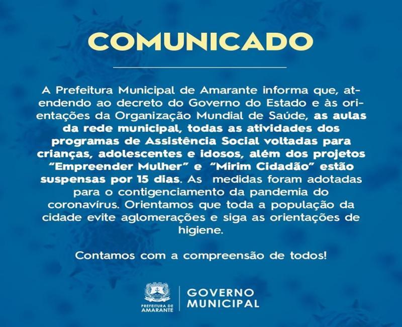 Prefeitura de Amarante suspende aulas por 15 dias por prevenção do Covid-19