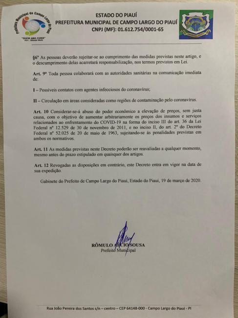 Pref. Rômulo Aécio decreta paralização das aulas municipais por 20 dias