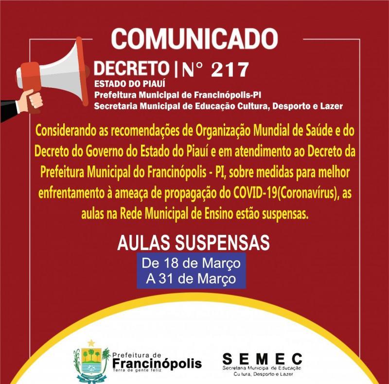 Prefeitura de Francinópolis estabelece medidas preventivas contra Covid-19