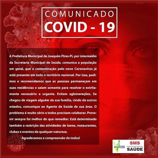 Coronavírus: Prefeitura de Joaquim Pires reforça a importância da prevenção