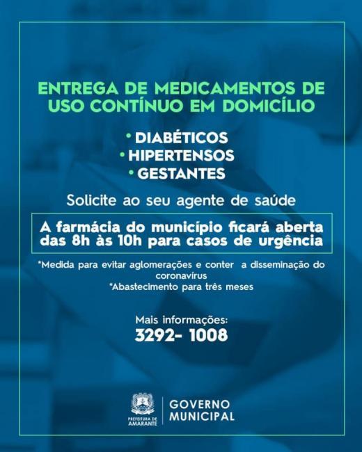 Amarante |Prefeitura passa a entregar remédios de uso contínuo em domicílio