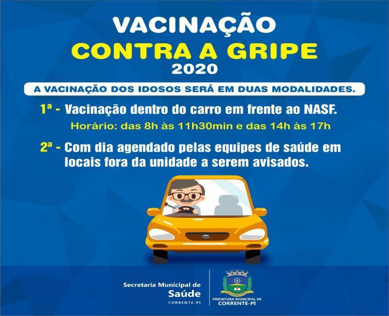Idosos vão receber vacinas contra gripe dentro dos carros em Corrente