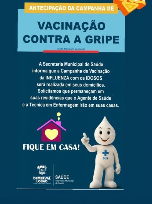 Demerval Lobão | Vacinação contra gripe será realizada em domicílio