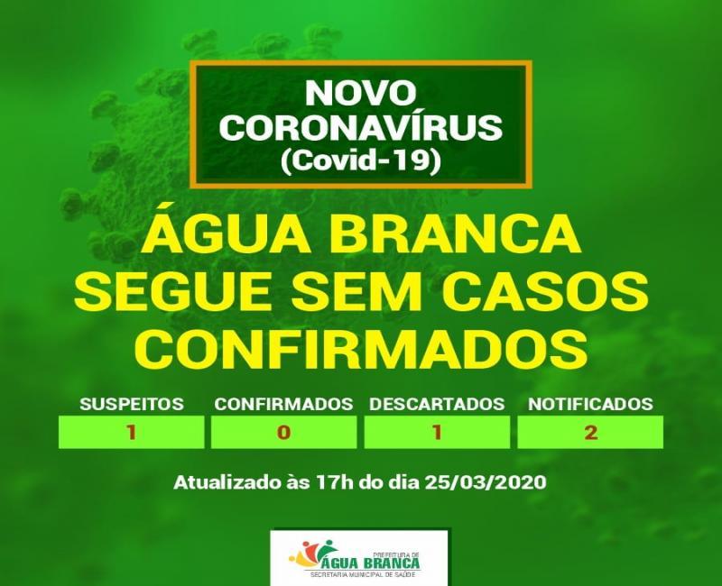 Coronavírus: Água Branca segue sem nenhum caso confirmado