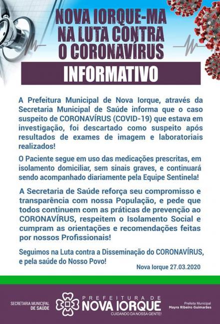 Descartado caso de coronavirus no município de Nova Iorque-Ma