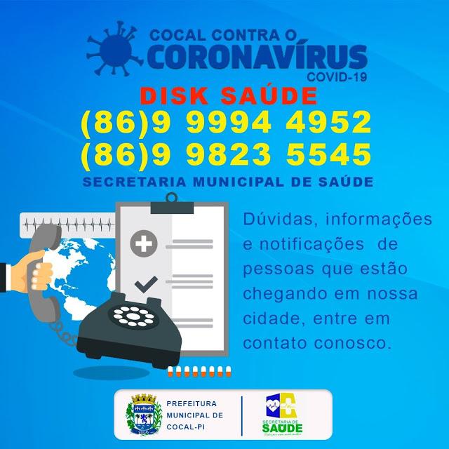 Prefeitura de Cocal implanta o serviço 'Disk Saúde' em função da Covid-19