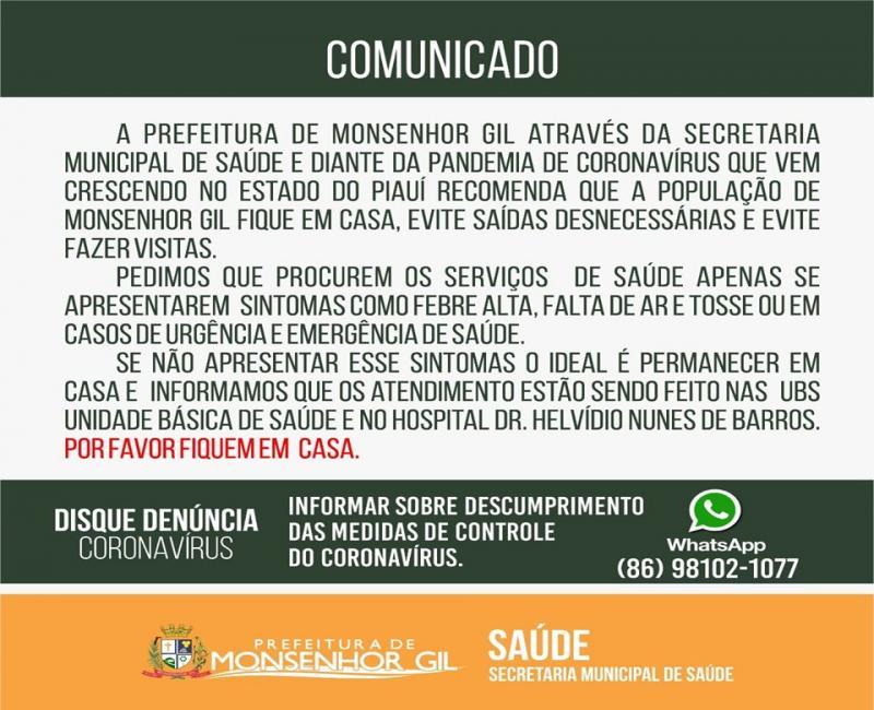 Prefeitura de Monsenhor Gil reforça as orientações de prevenção ao Covid-19