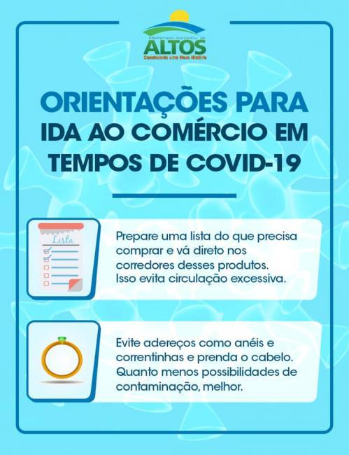 Covid-19: Prefeitura de Altos reforça ações de prevenção na ida ao comercio
