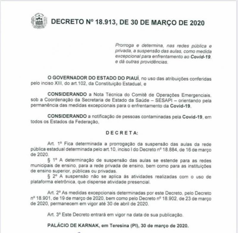 Lagoinha do Piauí prorroga suspensão de aulas por determinação do Governo