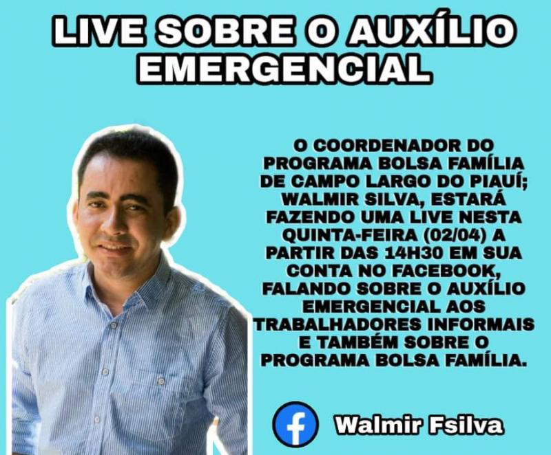 Walmir Ferreira fará live no Facebook sobre o auxílio emergencial