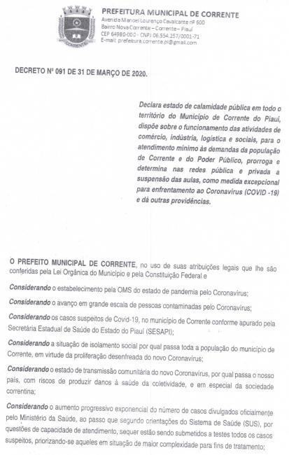 COVID 19: Prefeitura de Corrente decreta estado de calamidade pública