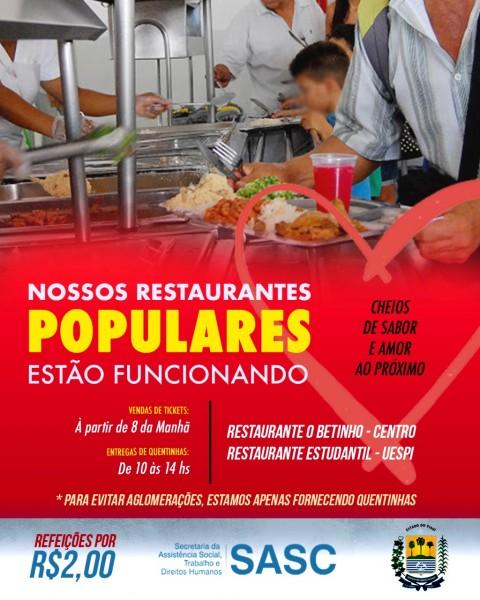 Restaurantes populares continuarão fornecendo refeições; Santana faz apelo