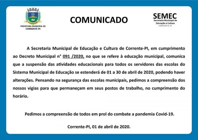 Prefeitura de Corrente prorroga suspensão das aulas até o dia 30 de abril