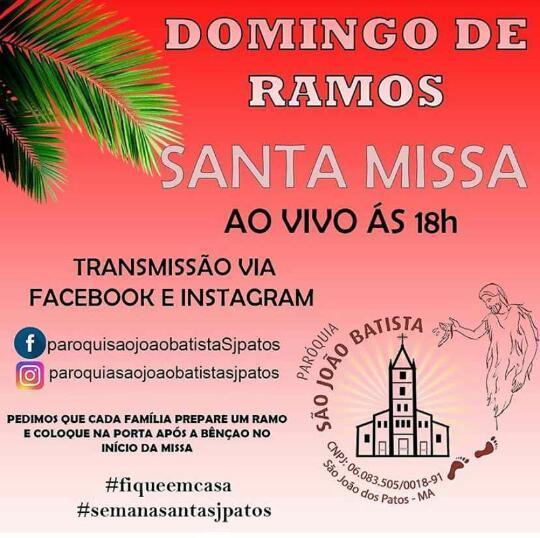 Missa de domingo de ramos será transmitido pelo facebook e instagram