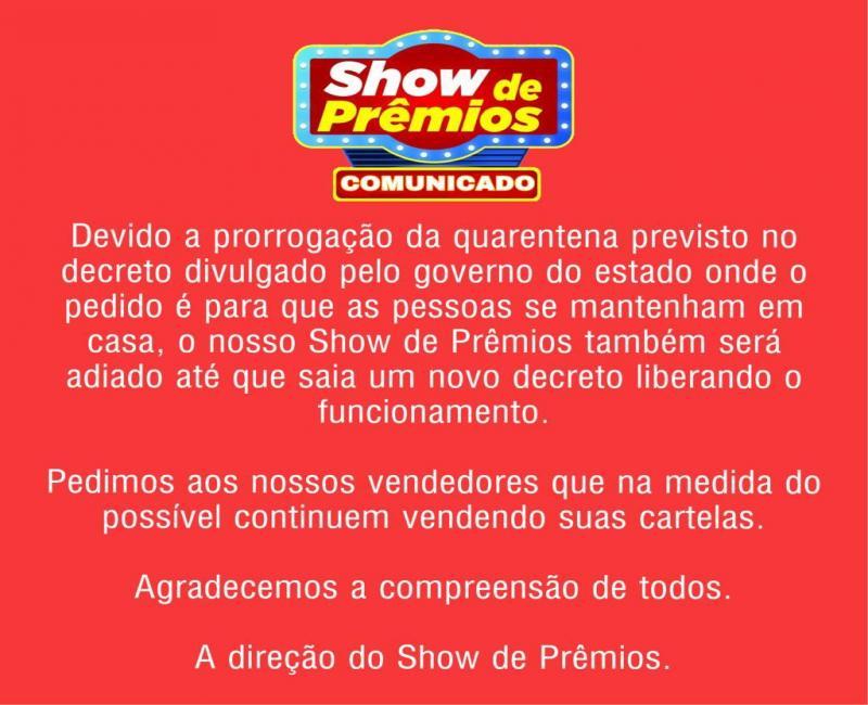 Comunicado do show de prêmios São João dos Patos da sorte