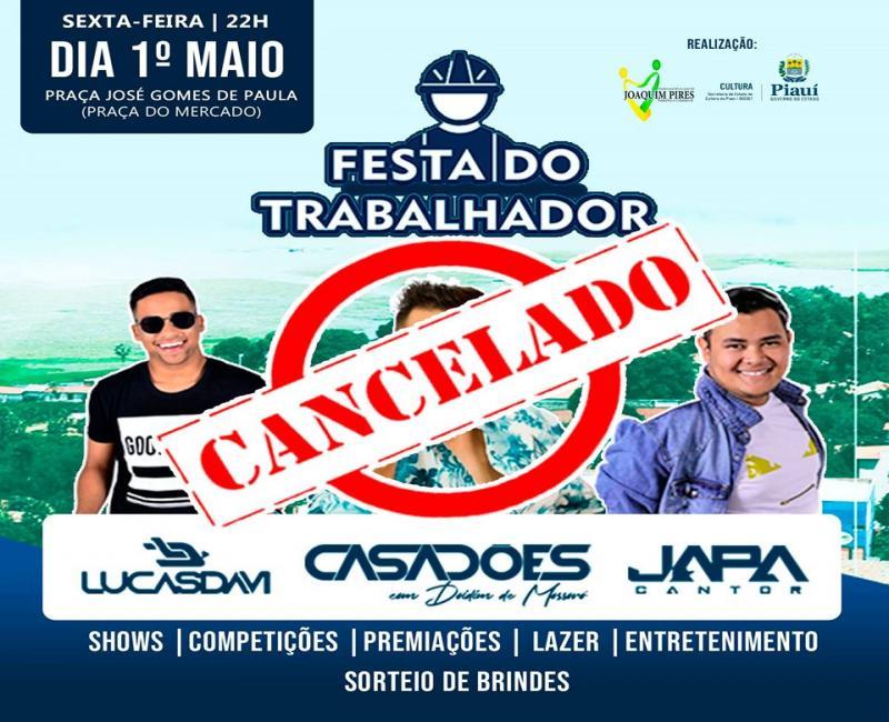 Coronavírus: Prefeitura cancela Festa do Trabalhador em Joaquim Pires