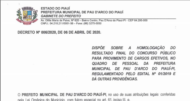 Prefeitura de Pau D'arco homologa resultado final do concurso