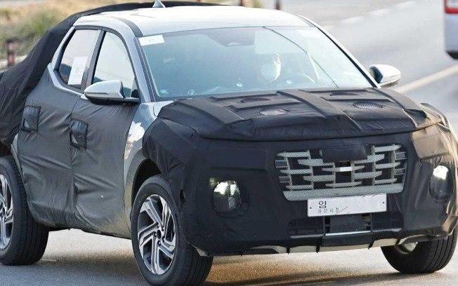 Picape da Hyundai é flagrada com menos camuflagem