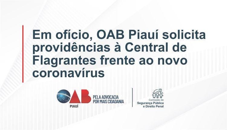 Em ofício, OAB Piauí solicita providências à Central de Flagrantes