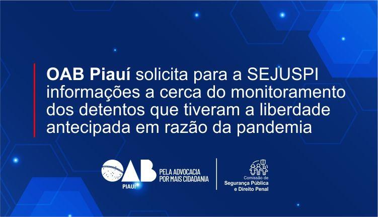 OAB PI solicita para a SEJUS-PI informações acerca dos detentos