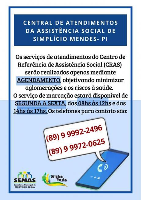 Simplício Mendes   Agendamentos no CRAS serão feitos somente por telefone