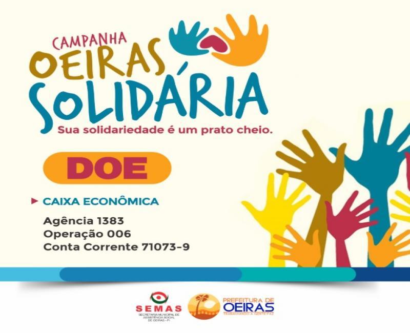 Campanha Oeiras Solidária disponibiliza conta bancária para doações