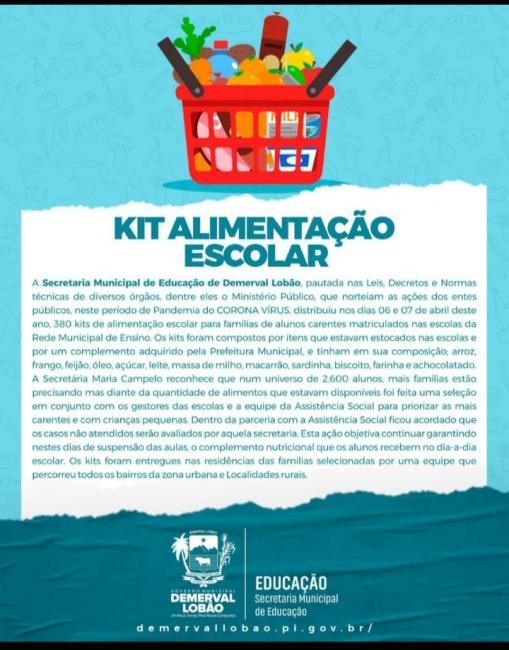 Prefeitura de Demerval Lobão realiza entrega de cestas básicas para alunos