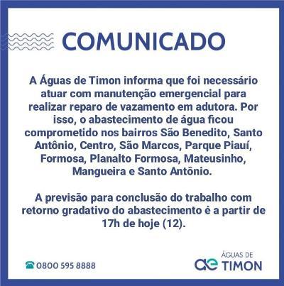 Por isso, o abastecimento de água ficou comprometido nos bairros São Benedito, Santo Antônio, Centro, São Marcos, Parque Piauí, Formosa, Planalto Formosa, Mateusinho, Mangueira e Santo Antônio.
