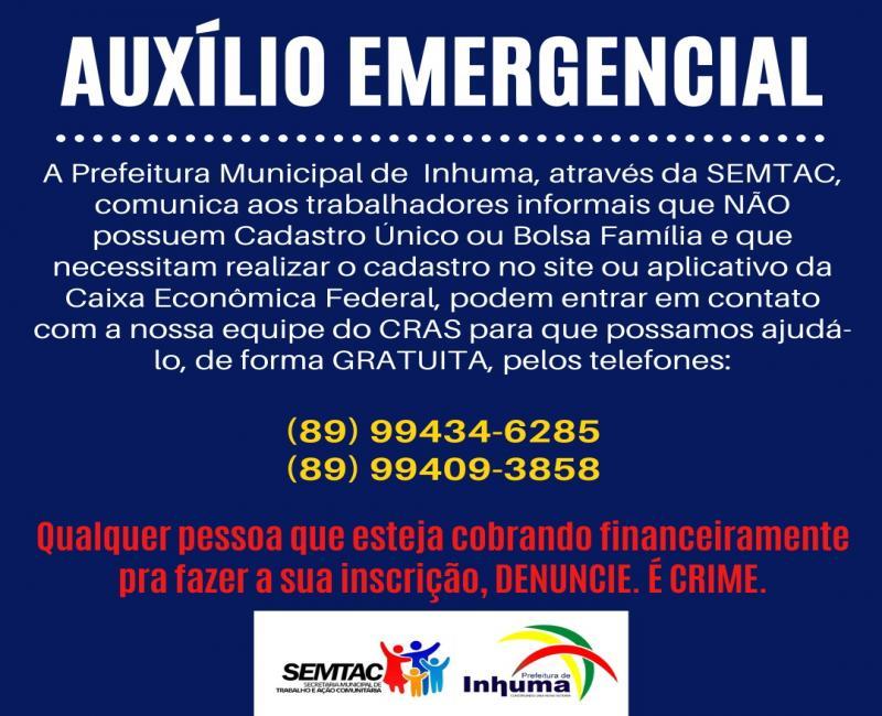 Prefeitura de Inhuma oferece apoio no cadastro para o Auxílio Emergencial