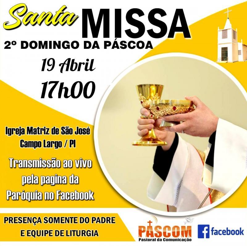 PASCOM | Fará Live no Facebook da Missa do 2° Domingo da Páscoa