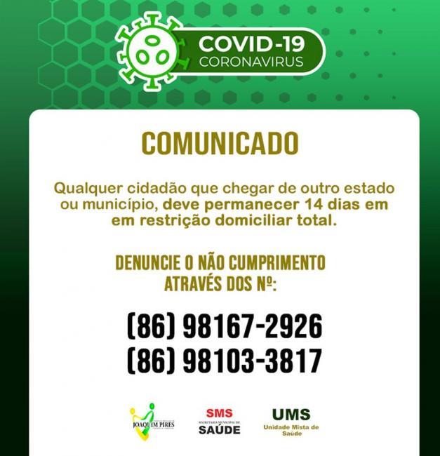 Covid-19: Prefeitura disponibiliza número para denúncias em Joaquim Pires