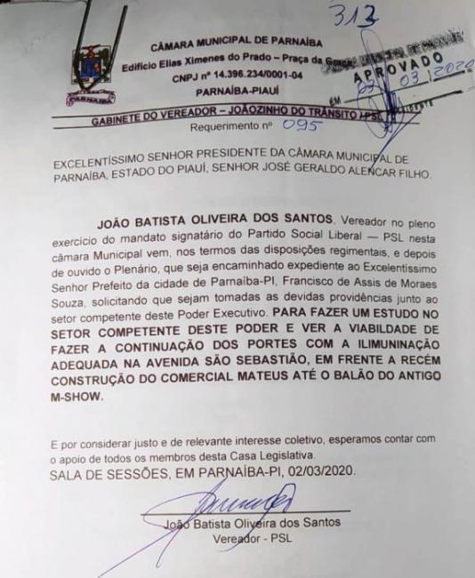 Vereador tem requerimento aprovado para iluminação de avenida em Parnaíba