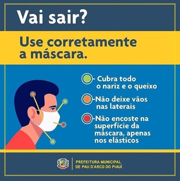 Prefeitura de Pau D'arco recomenda uso de máscaras de proteção a população