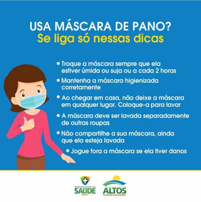 Covid-19: Prefeitura de Altos orienta sobre uso adequado de máscaras