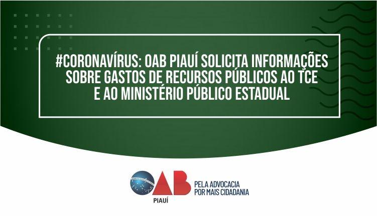 OAB PI solicita informações sobre gastos de recursos públicos ao TCE e MP