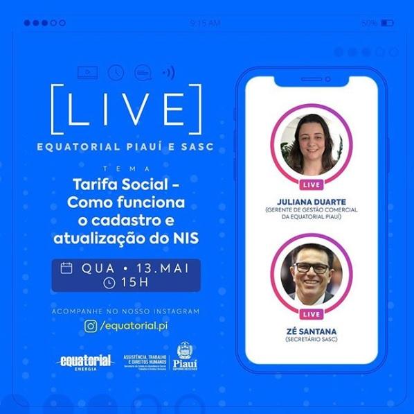 Zé Santana participa de Live sobre 'Tarifa Social' nesta quarta-feira (13)